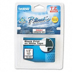 Other - TZ231 - Black on White Laminated Label Tape, Standard Adhesive, 1/2' x 26.2'