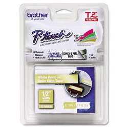 "Brother International - TZEMQ835 - Brother PTouch 1/2"" Laminated TZe Tape - 0.47"" Width x 16.40 ft Length - Thermal Transfer - White, Satin Gold - Plastic - 1 Each"