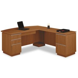 Bush Industries - 50DLL72A2CS - Bush Milano Collection Left L-Desk with Full Pedestal (Each)