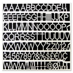 Bi-silque - CAR1002 - White Plastic Set of Letters, Numbers & Symbols, Uppercase, 1 Dia.