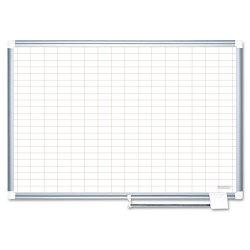 Bi-silque - CR0630830 - Gridded Magnetic Porcelain Planning Board, 1 x 2 Grid, 36 x 24, Aluminum Frame