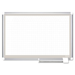 Bi-silque - CR0632830A - All Purpose Porcelain Dry Erase Planning Board, 1 x 1 Grid, 36 x 24, Aluminum