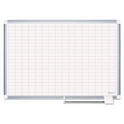 Bi-silque - CR0830830 - Gridded Magnetic Porcelain Planning Board, 1 x 2 Grid, 48 x 36, Aluminum Frame