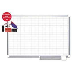 Bi-silque - CR0830830A - Platinum Plus Magnetic Porcelain Dry Erase Board, 1 x 2 Grid, 48 x 36, Silver