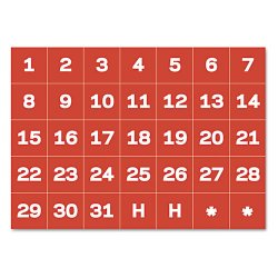 Bi-silque - FM1209 - MasterVision Magnetic Calendar Dates 1 Characters - 35 (Date) Shape - Easy to Use - 1 Height x 1 Width - Red, White - 35 / Bag