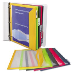 C-Line - 06650 - C-Line Poly Binder Pockets - Letter 8.50 x 11 - Rectangular - 3 x Holes - Poly - 5 / Set - Lime Green, Charcoal Gray, Raspberry Red, Steel Blue, Amber Orange