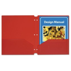 C-Line - 32934 - C-Line Products Two-Pocket Heavyweight Poly Portfolio Folder with Three-Hole Punch, Red, 25/BX - Letter - 8 1/2 x 11 Sheet Size - 2 Pocket(s) - Polypropylene - Red - 25 / Box
