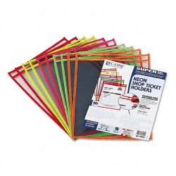 C-Line - 43920 - C-Line Stitched Shop Ticket Holder, Neon - Vinyl - 10 / Pack - Clear, Assorted