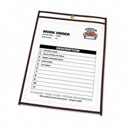C-Line - 46911 - C-Line Stitched Plastic Shop Ticket Holder - Letter - 8.50 Width x 11 Length Sheet Size - Vinyl - Clear - 25 / Box