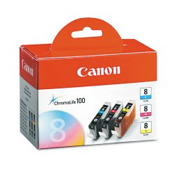 Canon - 0621B016 - Canon CLI-8 Tri Color Ink Cartridges - Laser - 840 Page - Cyan, Magenta, Yellow - 3 Pack