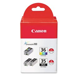 Canon - 1509B007 - Canon CLI-36/PGi-35 Ink Cartridge - Black, Color - Inkjet - Standard Yield - 3 / Pack