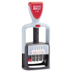 "Consolidated Stamp - 011034 - Two-Color Word Dater, 1 3/4 x 1, ""Received"", Self-Inking, Blue/Red"