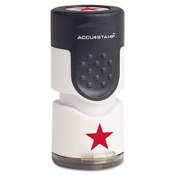 "Consolidated Stamp - 030726 - Accustamp Pre-Inked Round Stamp with Microban, Star, 5/8"" dia., Red"