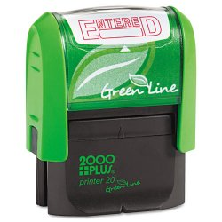 Consolidated Stamp - 035348 - Green Line Message Stamp, Entered, 1 1/2 x 9/16, Red