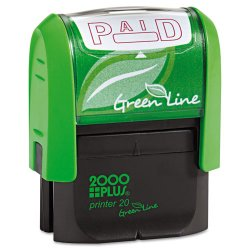 Consolidated Stamp - 035350 - Green Line Message Stamp, Paid, 1 1/2 x 9/16, Red