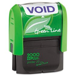 Consolidated Stamp - 035353 - Green Line Message Stamp, Void, 1 1/2 x 9/16, Blue