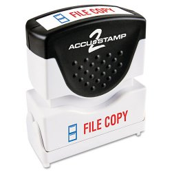 Consolidated Stamp - 035524 - Pre-Inked Shutter Stamp with Microban, Red/Blue, FILE COPY, 1 5/8 x 1/2