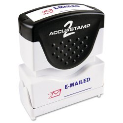 Consolidated Stamp - 035541 - Pre-Inked Shutter Stamp with Microban, Red/Blue, EMAILED, 1 5/8 x 1/2
