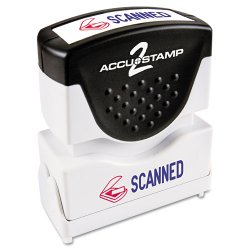 "Consolidated Stamp - 035606 - Consolidated Stamp 2-Color Shutter Stamp with Microban - Message Stamp - ""SCANNED"" - 0.50"" Impression Width x 1.62"" Impression Length - 20000 Impression(s) - Red, Blue - Plastic - 1 Each"