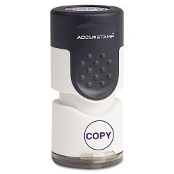 "Consolidated Stamp - 035653 - Accustamp Pre-Inked Round Stamp with Microban, COPY, 5/8"" dia, Blue"