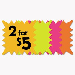 Consolidated Stamp - 090244 - Die Cut Paper Signs, 5 1/4 x 5 1/4, Square, Assorted Colors, Pack of 48 Each