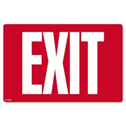 Consolidated Stamp - 098052 - Glow-in-the-Dark Safety Sign, Exit, 12 x 8, Red
