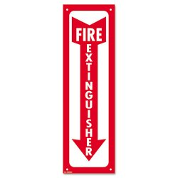 Consolidated Stamp - 098063 - Glow-In-The-Dark Safety Sign, Fire Extinguisher, 4 x 13, Red