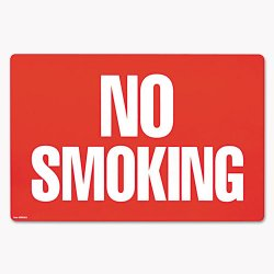 Consolidated Stamp - 098068 - Two-Sided Signs, No Smoking/No Fumar, 8 x 12, Red