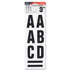 """Consolidated Stamp - 098132 - Letters, Numbers & Symbols, Adhesive, 3"""", Black"""