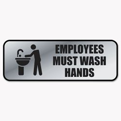Consolidated Stamp - 098205 - Brushed Metal Office Sign, Employees Must Wash Hands, 9 x 3, Silver