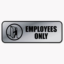 Consolidated Stamp - 098206 - Brushed Metal Office Sign, Employees Only, 9 x 3, Silver