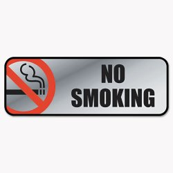 Consolidated Stamp - 098207 - Brush Metal Office Sign, No Smoking, 9 x 3, Silver/Red