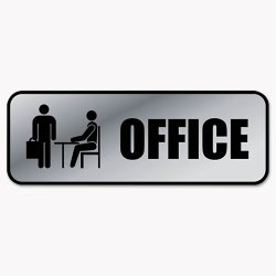 Consolidated Stamp - 098209 - Brushed Metal Office Sign, Office, 9 x 3, Silver