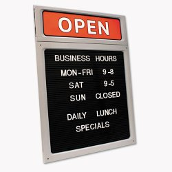 Consolidated Stamp - 098221 - Message/Business Hours Sign, 15 x 20 1/2, Black/Red