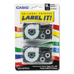 Casio - XR-18WE2S - Casio EZ-Label Printer Tape Cartridges - 45/64 Length - Dye Sublimation - White - 2 / Pack