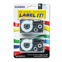 Casio - XR-18WEB2S - Casio Label Printer Tape - 45/64 Length - Dye Sublimation - Blue, White - 1 Each