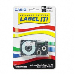 Casio - XR18WES - Casio White Tape - 3/4 Length - Black, White - 1 Each