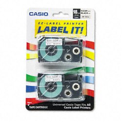 Casio - XR-18X2S - Casio EZ-Label Printer Tape Cartridges - 45/64 Length - Dye Sublimation - Clear - 2 / Pack