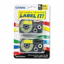 Casio - XR-18YW2S - Casio Label Printer Tape - 45/64 Length - Dye Sublimation - Black, Yellow - 1 Each