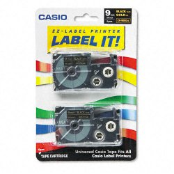 Casio - XR-9BKG2S - Casio Label Printer Tape - 23/64 Length - Dye Sublimation - Gold - 1 Each