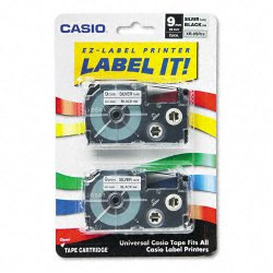 Casio - XR-9SR2S - Casio Label Printer Tape - 23/64 Width x 26 ft Length - Black - 1 Each