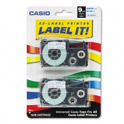 Casio - XR-9WEB2S - Casio Label Printer Tape - 23/64 Length - Dye Sublimation - Blue, Silver - 1 Each
