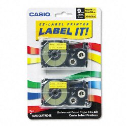 Casio - XR-9YW2S - Casio EZ-Label Printer Tape Cartridges - 23/64 Width x 26 ft Length - Rectangle - Black, Yellow - 1 Each