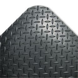 "Crown Mats / Ludlow Composites - CD0023DB - Crown Mats Industrial Deck Plate Anti-fatigue Mat - Industry, Indoor - 36"" Length x 24"" Width x 0.56"" Thickness - Rectangle - Diamond Pattern Texture - Vinyl, PVC Foam - Black"