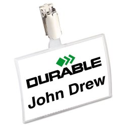 Durable - 8216-19 - Durable Click-Fold Convex Name Badge with Strap Clip - 2.9 x 3.8 x 0.3 - Polypropylene, Metal - 25 / Pack - Clear