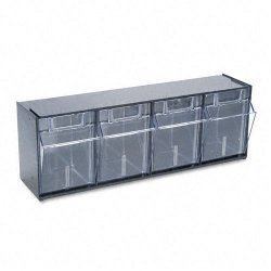 Deflect-O - 20404OP - deflecto Interlocking Tilt Bin Storage Systems - 4 Compartment(s) - 8.1 Height x 23.6 Width x 6.6 Depth - Wall Mountable - Black - Plastic - 1Each