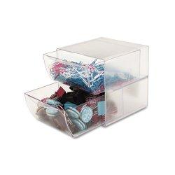 Deflect-O - 350101 - deflecto Plastic Cube Organizer - 2 Drawer(s) - 6 Height x 6 Width x 7.5 Depth - Desktop - Clear - Plastic - 1Each