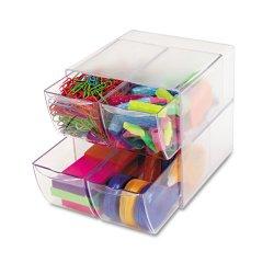 Deflect-O - 350301 - deflecto Plastic Cube Organizer - 4 Drawer(s) - 6 Height x 6 Width x 7.5 Depth - Desktop - Clear - Plastic - 1Each