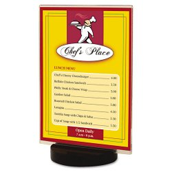 Deflect-O - 690275 - deflecto Superior Image Round Base Sign Holders - 7 x 5 - 1 Each - Clear, Black