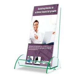Deflect-O - 775383 - deflecto Leaflet-Size Euro-Style Docuholder - 8 Height x 4.5 Width x 3.8 Depth - Clear, Green Edge - Glass, Plastic - 1Each
